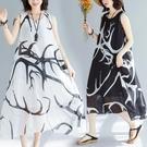 雪紡連衣裙 2021夏季新款胖妹妹寬松大碼A字裙韓版減齡雪紡印花無袖連衣裙女