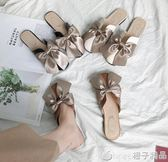 平底半拖鞋女外穿韓版蝴蝶結包頭平跟女鞋2019春夏新款時尚穆勒鞋      橙子精品