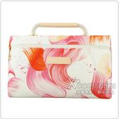 LONGCHAMP SPLASH水花圖案棉質帆布手提化妝包(紅)