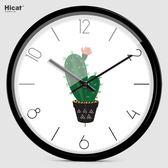 北歐風掛鐘 HICAT時尚簡約綠色花草植物畫掛鐘客廳靜音時鐘掛錶創意石英鐘錶 芭蕾朵朵IGO