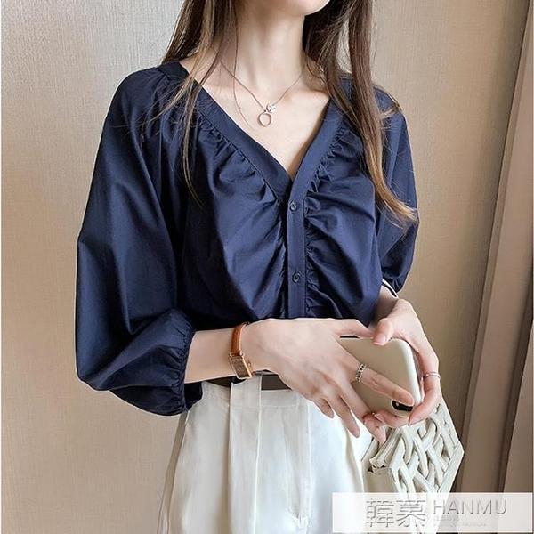 七分袖襯衫女秋季2021年新款時尚輕熟洋氣V領設計感小眾垂感上衣 萬聖節狂歡