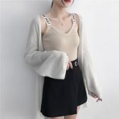 吊帶背心女秋冬白色內搭針織小心機吊帶打底衫短款上衣外穿潮 阿卡娜
