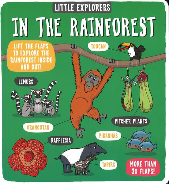 【麥克書店】LITTLE EXPLORERS IN THE RAINFOREST/ 英文繪本硬頁書《主題:科學環境社會文化》