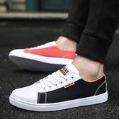新款板鞋男士休閒布鞋青少年男鞋子韓版學生帆布運動潮鞋    初語生活