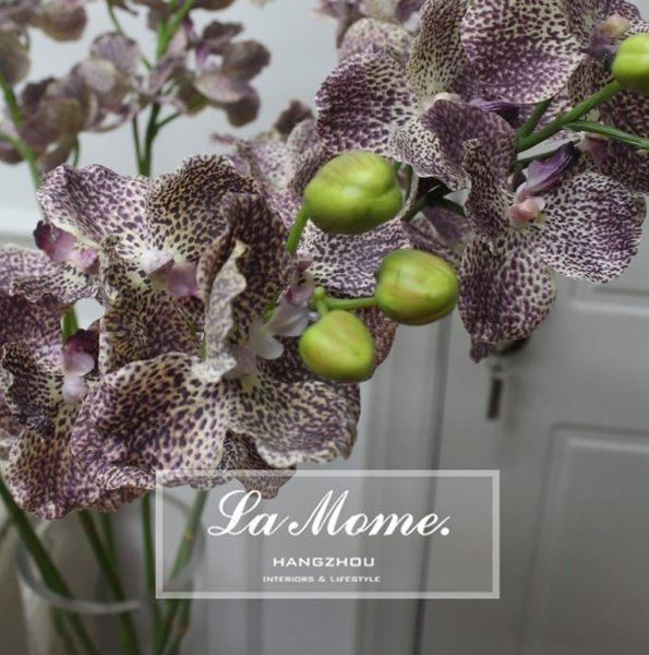 [協貿國際]花點紫色豹紋蝴蝶蘭仿真花藝高檔樣板房