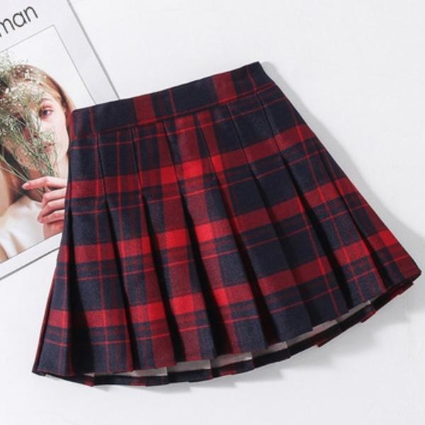 拉鍊款 女童格子百褶裙 褲裙 短裙 內有安全褲 大童 格子裙 校園 表演 聖誕服裝 聖誕節 女童