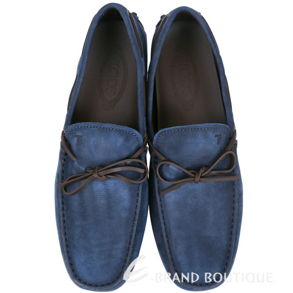 TOD'S Gommino Driving 綁帶拼接麂皮豆豆休閒鞋(深藍色) 1620901-34