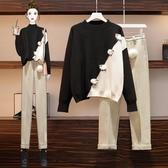 針織上衣 胖妹妹2020秋冬季新款顯瘦減齡洋氣時尚毛衣炸街兩件套裝 雙十二特惠