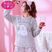 日系睡衣女秋冬加厚法蘭絨套裝可愛新款家居服韓國韓版長袖珊瑚絨 美芭