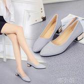 女鞋漆皮尖頭單鞋女士中跟粗跟休閒鞋瓢鞋百搭淺口小皮鞋  喵小姐