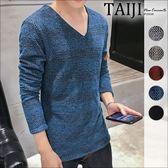 針織毛衣‧素面手臂三角形貼章網狀針織V領毛衣‧五色‧加大尺碼【NTJBM517】-TAIJI-