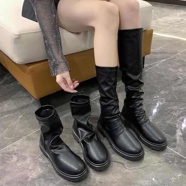 切爾西靴 騎士英倫風馬丁靴短靴女2021秋冬季中筒顯瘦切爾西高筒長靴