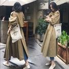 FINDSENSE G6 韓國潮流 2019 春秋季新款卡其色風衣女中長款過膝氣