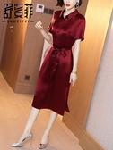 洋裝`襯衫裙女夏裝新款氣質翻領短袖收腰裙子過膝中長款醋酸緞面連身裙H456-C胖妞衣櫥