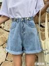 個性高腰紐扣牛仔短褲女春夏新款復古寬鬆捲邊闊腿褲學生熱褲『艾麗花園』