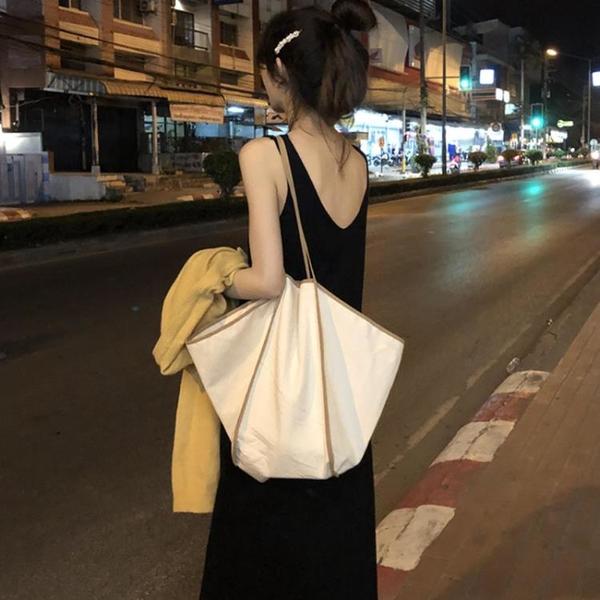 翅膀包 2020韓版造型炒酷的翅膀包炒火百搭手提單肩包大容量拼色帆布包女 ww