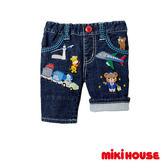 MIKI HOUSE 普奇熊刺繡豪華牛仔七分褲(藍)