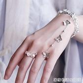 手链戒指一体女韩版新娘古风手背链简约时尚复古宫廷汉服手部装饰 居家物語