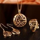 玫瑰金銀飾套裝含項鍊+耳環+戒指-復古花...