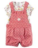 【美國Carter's】套裝2件組 -點點微笑貓咪連身吊帶褲+短袖上衣  121H615