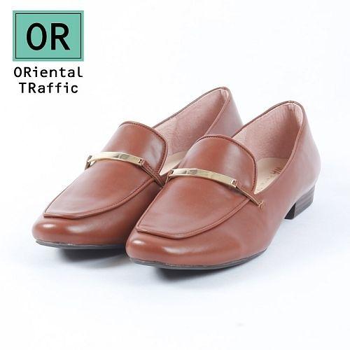 【ORiental TRaffic】時尚金屬飾條平底鞋-焦糖咖