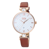 NATURALLY JOJO 晶鑽菱格時尚腕錶-咖啡色