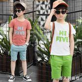 韓版字母印花短袖T恤褲裝2019夏季中大尺碼男童休閒兩件式套裝 DR28100【男人與流行】