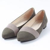 【ORiental TRaffic】舒適尖炫撞色低跟鞋-復古綠