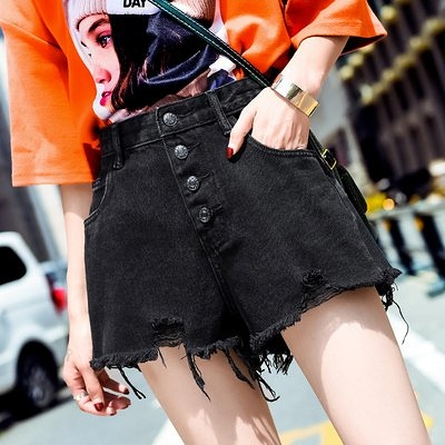 牛仔褲短褲實黑色高腰夏季韓版顯瘦寬松毛邊闊腿熱褲潮.T626.8908皇潮天下
