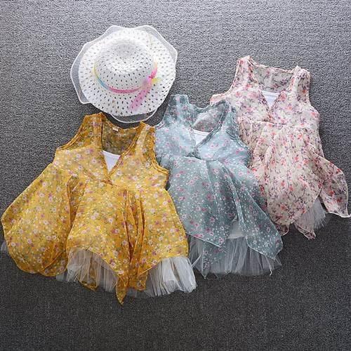 無袖洋裝 女童假兩件碎花雪紡紗裙洋裝(送網紗帽) S77013 AIB小舖