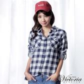 Victoria 雙層格布長袖襯衫-女