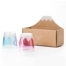 日本製 富士山 玻璃水杯 玻璃杯 飲料杯 清酒杯 水藍/粉紅 兩款供選 ☆艾莉莎ELS☆