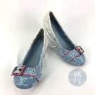 BRAND楓月 LOUIS VUITTON LV 漸層藍 牛仔布 原花 粉紅縫線 粉紅裝飾釦 平底鞋 娃娃鞋 #36