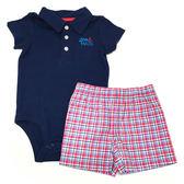 Carter s 短袖套裝 polo杉包屁衣+短褲二件組深藍 男寶寶【CA121H291】