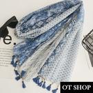 OT SHOP [現貨] 防曬空調絲巾 披肩 棉麻 波西米亞風 手工木珠流蘇裝飾 渡假風穿搭配件 藍/粉 D8037