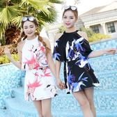 韓國遮肉連體裙泳衣女 性感顯瘦保守遮肚溫泉游泳裝 小宅女