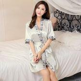 春夏季男女長款浴袍薄款情侶睡衣冰絲綢性感吊帶女睡袍兩件套睡裙