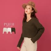 限量現貨◆PUFII-針織上衣 V領坑條短版針織上衣-1124 現+預 冬【CP19502】