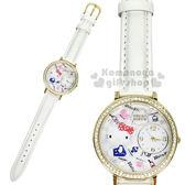 〔小禮堂〕Hello Kitty 日製皮革手錶《白.側坐.點點》腕錶.淑女錶.精緻盒裝 4937996-77617