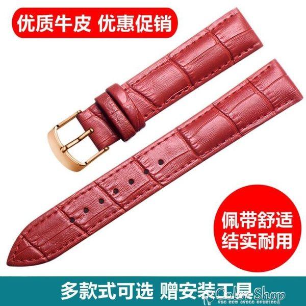 手錶帶手錶帶男女士真皮錶帶自動蝴蝶扣手錶配件皮錶鏈代用手錶皮帶  color shop