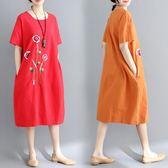 韓版大尺碼女裝中長款刺繡花案洋裝連衣裙短袖圓領裙子夏