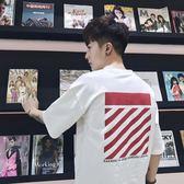 T恤夏季韓版寬鬆五分袖t恤男士圓領短袖青少年bf風潮流半袖中袖上衣 可然精品