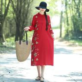 文藝繡花民族風中長款棉麻打底洋裝連身裙秋季女長袖盤口中國風洋裝 店慶降價