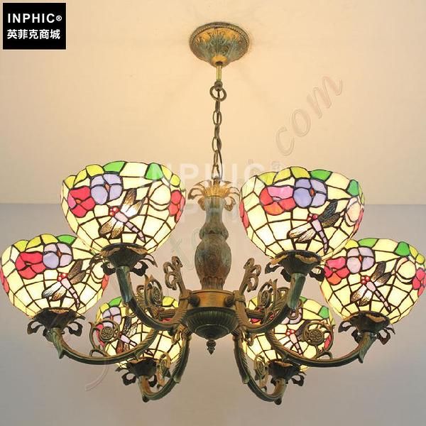 INPHIC-田園簡約喇叭花彩色玻璃吊燈餐廳裝飾書房臥室創意手工多頭燈_S2626C