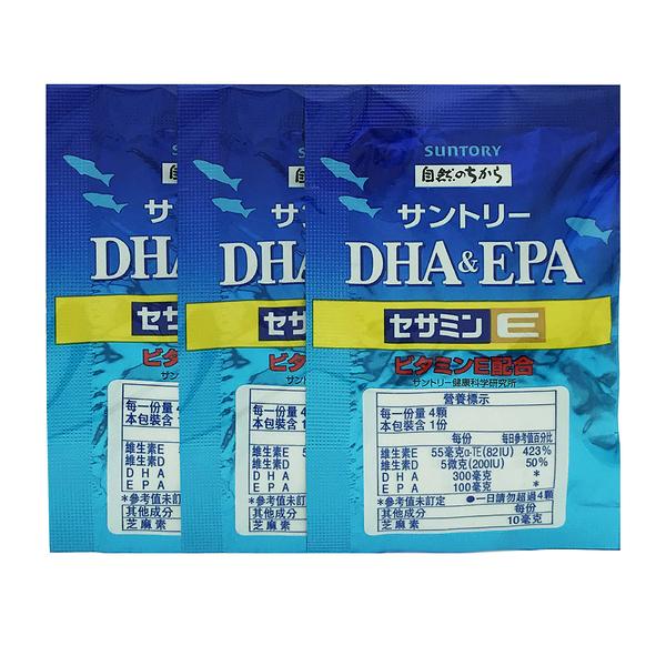 Suntory三得利 魚油 DHA&EPA+芝麻明E(4顆/包*3)【優.日常】