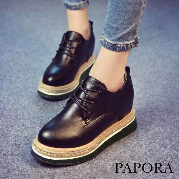 PAPORA素面厚底內增高牛津鞋休閒鞋【KQ12】黑色