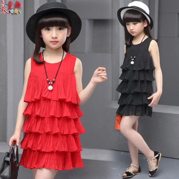 衣童趣♥韓版 中大女童 甜美 連身蛋糕裙 氣質可愛洋裝