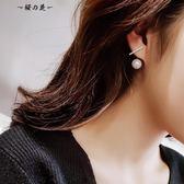 韓國個性簡約氣質珍珠耳釘女冷淡風純銀短發耳環潮人百搭網紅耳墜【櫻花本鋪】
