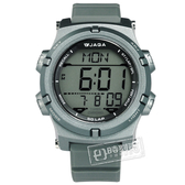 JAGA 捷卡 / M1192-C / 電子運動 倒數計時 計時碼錶 鬧鈴 日常生活防水 橡膠手錶 灰色 47mm