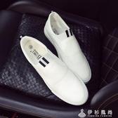 小白鞋一腳蹬皮鞋英倫白色男士休閒鞋豆豆鞋樂福鞋懶人社會小伙鞋   伊衫風尚